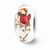White Lady Cardinal Glass Bead, Sterling Silver (Hand-Painted)