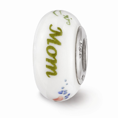 White Mom Floral Glass Bead, Sterling Silver (Hand-Painted)