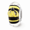 Yellow and Black Bumblebee Glass Bead in Sterling Silver (Hand-Painted)