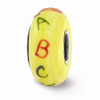 Yellow Teachers Glass Bead, Sterling Silver (Hand-Painted)