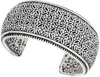 Flower Cuff Bracelet in Sterling Silver