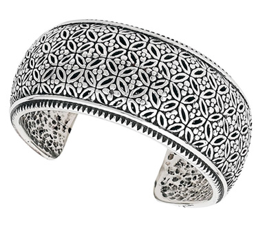 Flower Cuff Bracelet in Sterling Silver