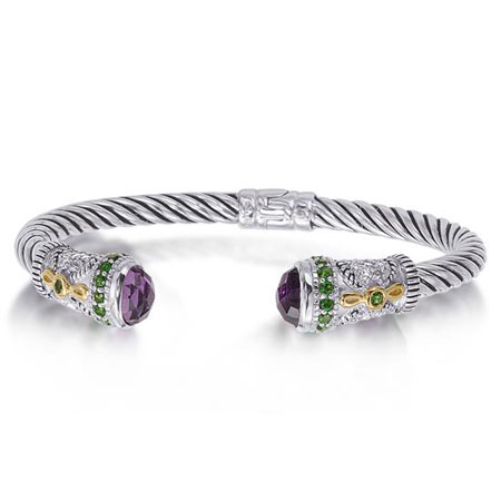 Amethyst and Iolite Bangle Bracelet in Sterling Silver