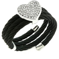 Pave Diamond Heart Accented Leather Wrap Bracelet