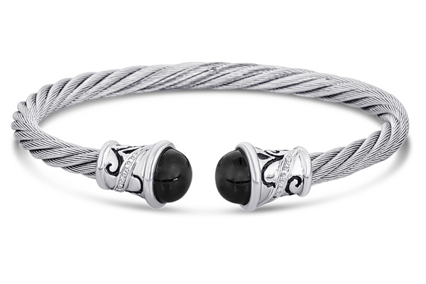Sterling Silver and Stainless Steel Bangle Bracelet with Black Onyx
