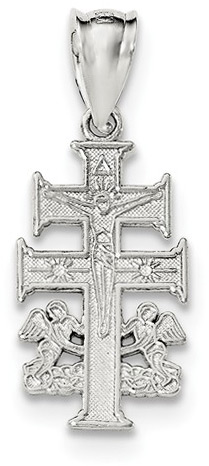 Caravaca Crucifix Pendant with Angels, Sterling Silver