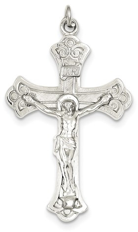 Crucifix Fluerie Pendant in Sterling Silver