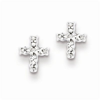 Diamond Cross Post Earrings in Sterling Silver