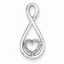 Diamond Heart in Teardrop Pendant, Sterling Silver