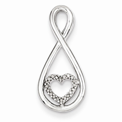 Diamond Heart in Teardrop Pendant, Sterling Silver