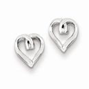 Diamond Heart Post Earrings in .925 Sterling Silver