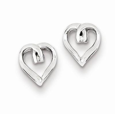 Diamond Heart Post Earrings in .925 Sterling Silver