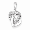Double Diamond Accent Heart Pendant in Sterling Silver