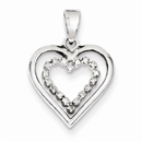 Dual Sterling Silver Diamond Heart Pendant