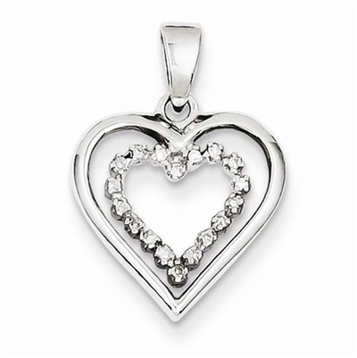 Dual Sterling Silver Diamond Heart Pendant