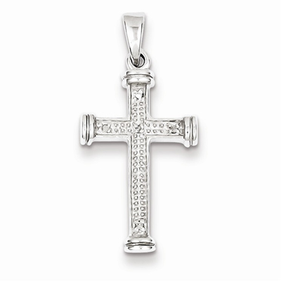 diamond cross pendant silver
