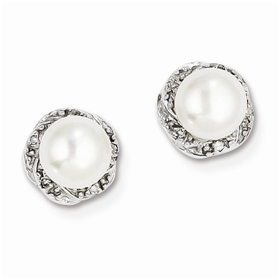 Freshwater Cultured Pearl & Diamond Post Earrings in Sterling Silver