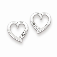 Rhodium Diamond Heart Post Earrings, Sterling Silver