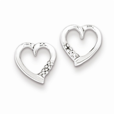 Rhodium Diamond Heart Post Earrings, Sterling Silver