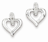 Sterling Silver Heart with Diamond Earrings