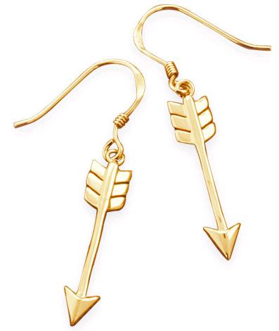 14K Gold Plated Aim High Arrow Earrings