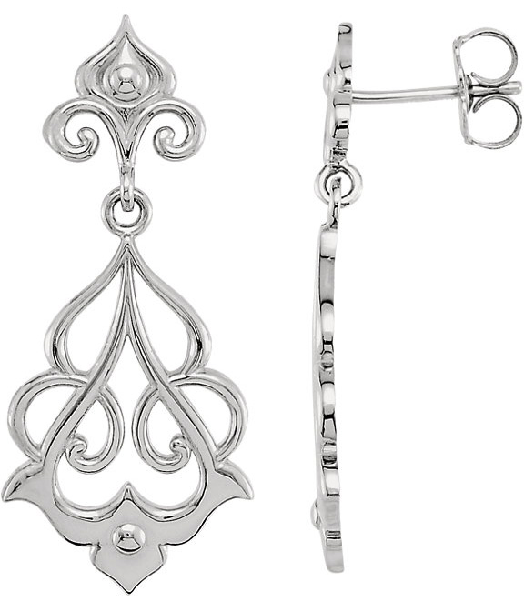 Decorative Dangle Earrings, Sterling Silver