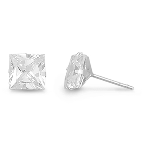 Nickel-Free Silver Princess-Cut CZ Stud Earrings