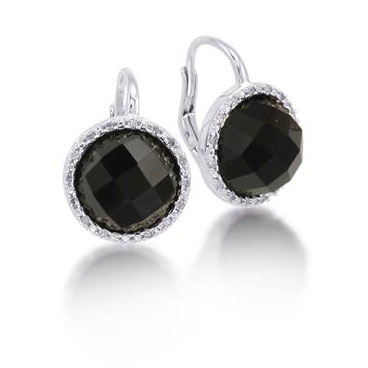 7 Carat Faceted Onyx and Diamond Earrings in Sterling Silver