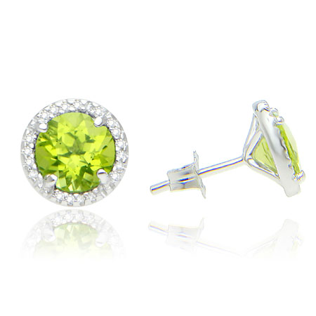 7mm Round Peridot and Diamond Halo Stud Earrings in Sterling Silver