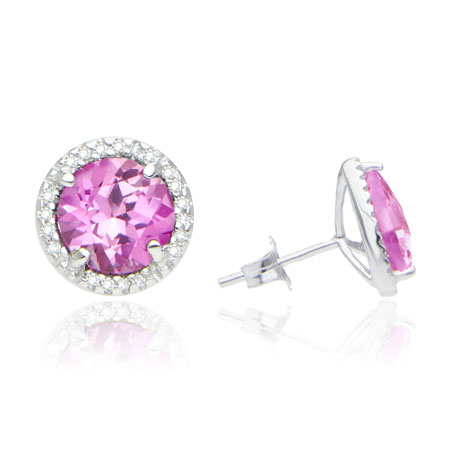 7mm Round Pink Topaz and Diamond Halo Stud Earrings in Sterling Silver