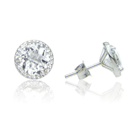 7mm White Topaz And Diamond Halo Stud Earrings In Sterling Silver