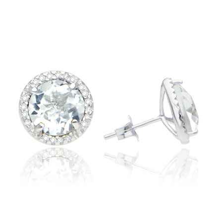 8mm White Topaz and Diamond Halo Studs in Sterling Silver