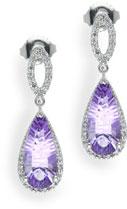Amethyst and Diamond Halo Drop Earrings in Sterling Silver