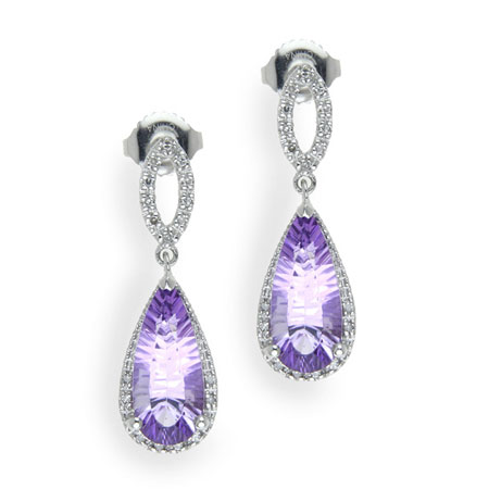 Amethyst and Diamond Halo Drop Earrings in Sterling Silver