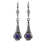 Art Deco Style Amethyst Earrings in Sterling Silver