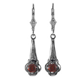 Art Deco Style Garnet Earrings in Sterling Silver