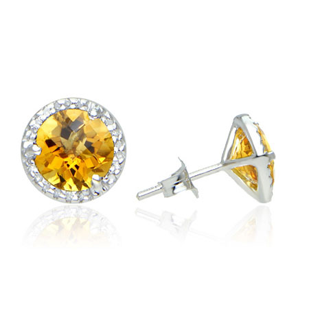 Citrine and Diamond Halo Stud Earrings in Sterling Silver