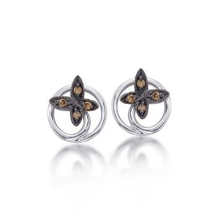 Cognac Diamond Butterfly Earrings in Sterling Silver