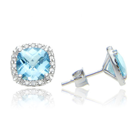 Cushion-Cut Blue Topaz and Diamond Halo Stud Earrings in Sterling Silver