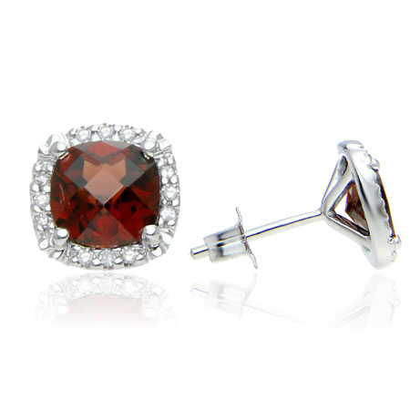 Cushion-Cut Garnet and Diamond Halo Stud Earrings in Sterling Silver