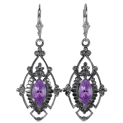 Edwardian Style Marquise Cut Amethyst Earrings in Sterling Silver