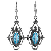 Edwardian Style Marquise Cut Blue Topaz Earrings in Sterling Silver