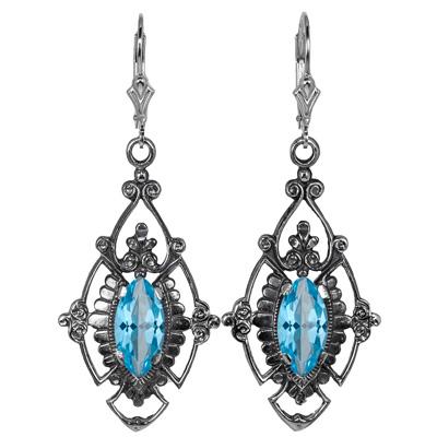 Edwardian Style Marquise Cut Blue Topaz Earrings in Sterling Silver