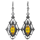 Edwardian Style Marquise Cut Citrine Earrings in Sterling Silver