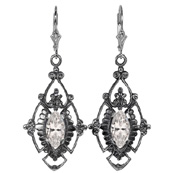 Edwardian Style Marquise Cut CZ Earrings in Sterling Silver