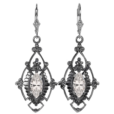 Edwardian Jewelry | Downton Abbey Earrings, Necklaces, Rings Edwardian Style Marquise Cut CZ Earrings in Sterling Silver $175.00 AT vintagedancer.com