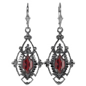 Edwardian Style Marquise Cut Garnet Earrings in Sterling Silver
