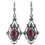 Edwardian Style Marquise Cut Garnet Earrings in Sterling Silver