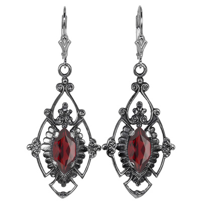 Vintage Style Jewelry, Retro Jewelry Edwardian Style Marquise Cut Garnet Earrings in Sterling Silver $199.00 AT vintagedancer.com