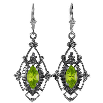 Edwardian Style Marquise Cut Peridot Earrings in Sterling Silver